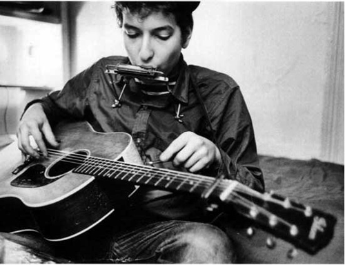 Bob Dylan with His Gibson J-50 by Henry Zbyszynski