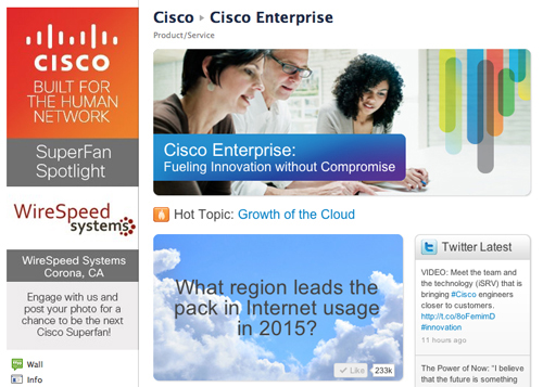 Cisco Facebook page
