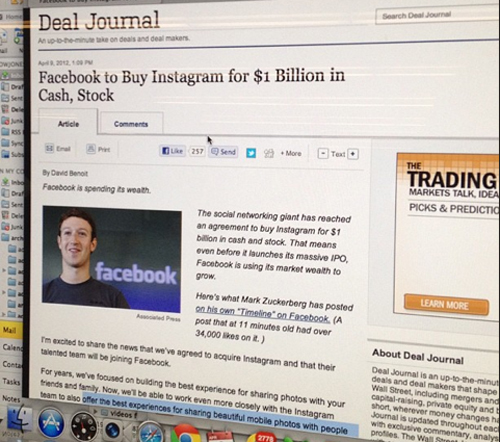 Facebook buys Instagram by WSJ on Instgram