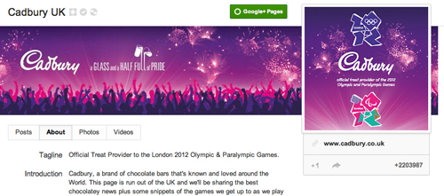 Cadbury on Google+