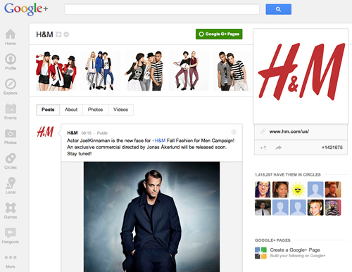 H&M on Google+