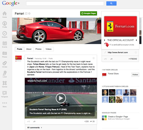 Ferrari on Google+