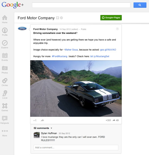 Ford on Google+