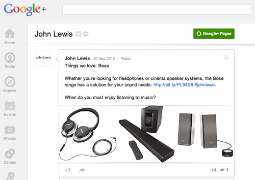 John Lewis on Google+