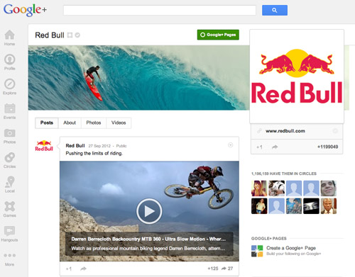 Red Bull on Google+