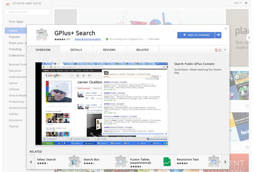 GPlus+ search on Chrome