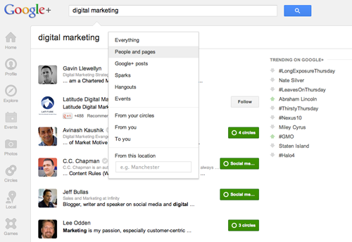 Seek out industry experts with Google+ search