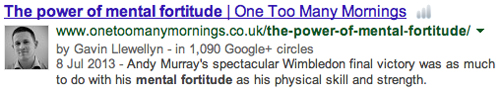 The Power of Mental Fortitude authorship search result