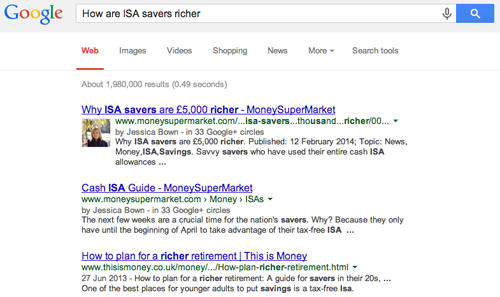 MoneySuperMarket authorship mark-up search result
