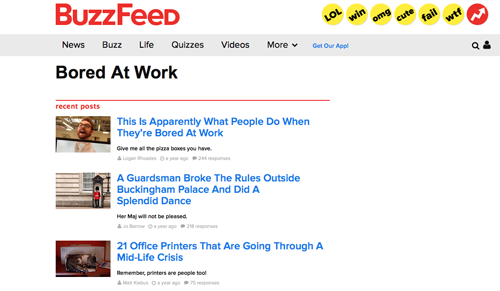 Buzzfeed Bored At Work network